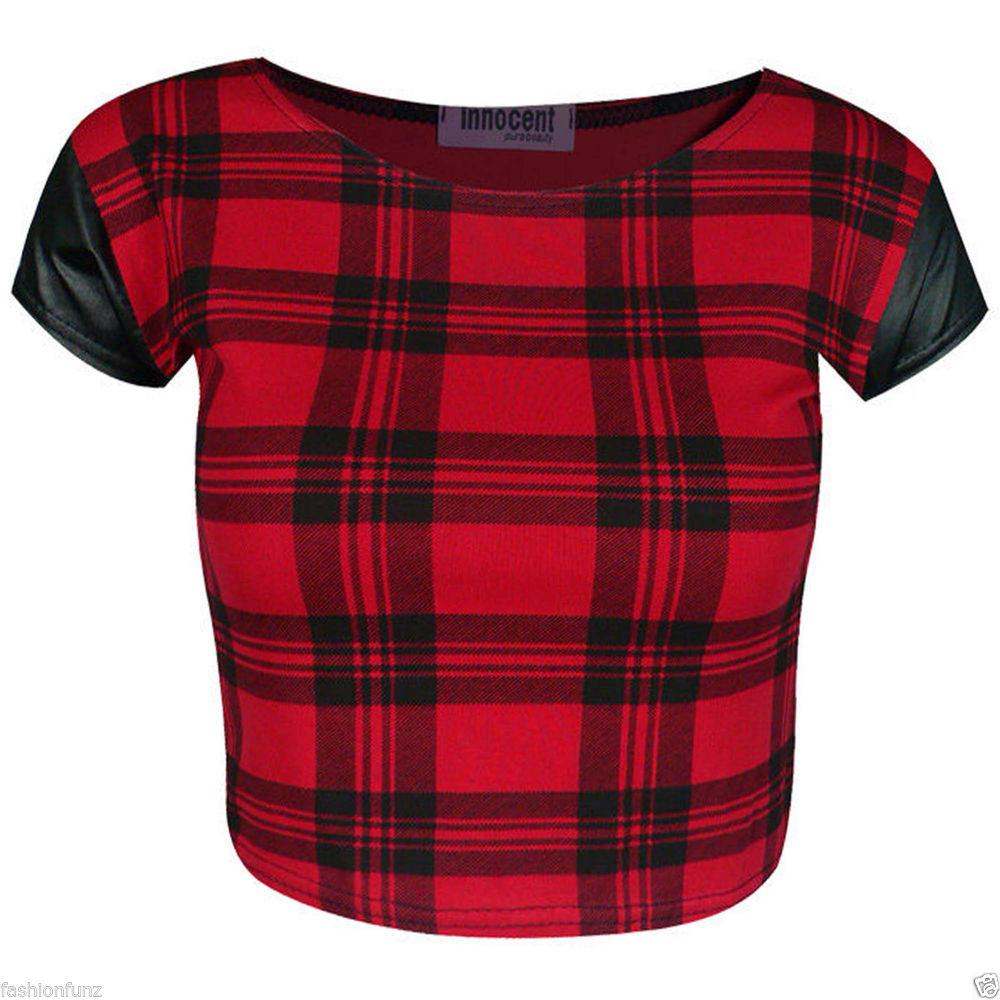 WOMENS PVC CAP SLEEVE SCOTTISH RED TARTAN CHECK PRINT CROPPED TOPS T SHIRT VEST | eBay