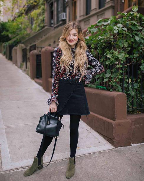 skirt tumblr mini skirt black skirt wrap skirt tights top blouse bag boots ankle boots green boots flat boots