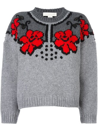 jumper women jacquard floral wool grey sweater