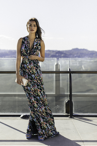 dress maxi dress floral floral dress spring dress jamie chung blogger clutch sandals platform sandals shoes