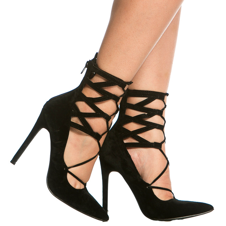TALIA Faux Suede Lace Up Heel in Black at FLYJANE