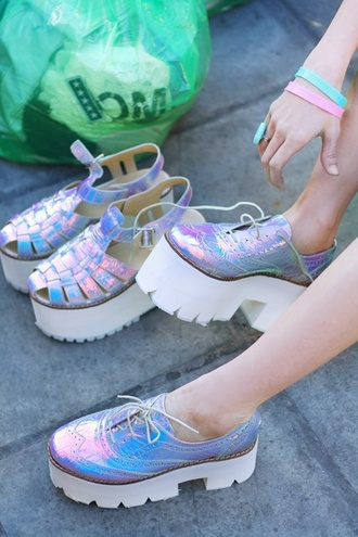 shoes holographic holographic shoes girly creepers high heels pastel goth harajuku