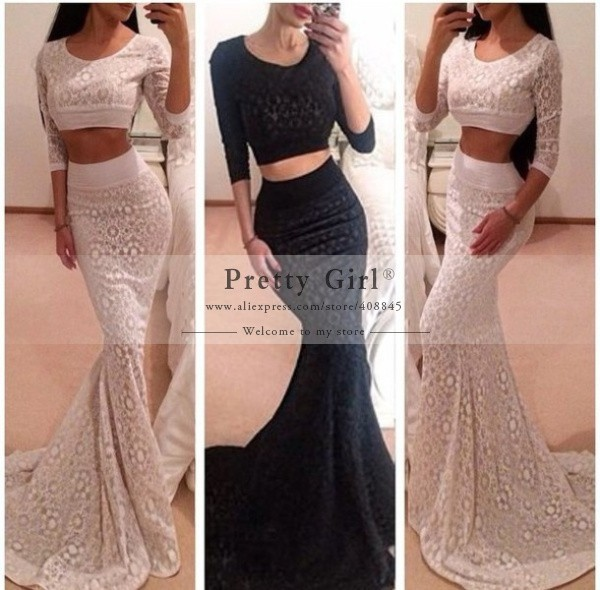 Aliexpress.com : buy fashionable 2015 popular sexy two piece lace mermaid prom dresses custom made long sleeve evening gowns women party dress cheap from reliable dresses evening dresses suppliers on pretty girl trade co., ltd