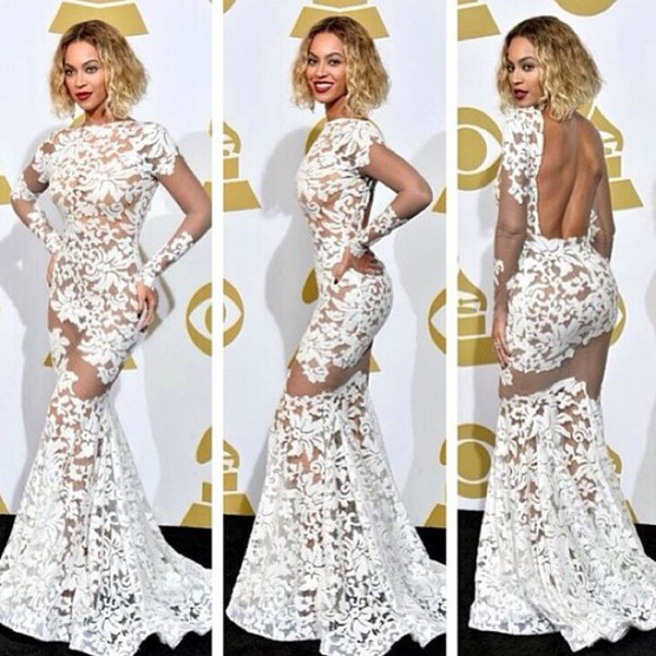 white dress open back mermaid prom dress beyonce dress