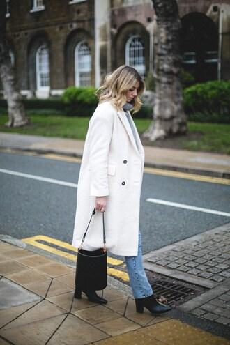 coat tumblr white coat denim jeans blue jeans boots black boots bag black bag handbag