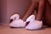shoes,swan,slippers,white,orange,animal,swams,urban outfitters