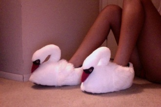 shoes swan slippers white orange animal swams urban outfitters