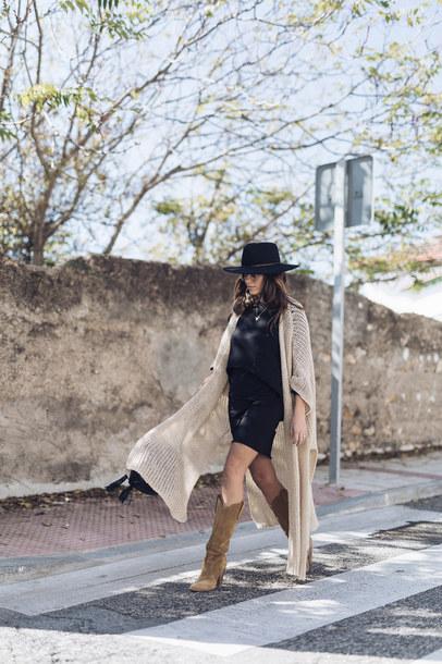 dress tumblr mini dress black dress boots brown boots cardigan nude cardigan hat felt hat