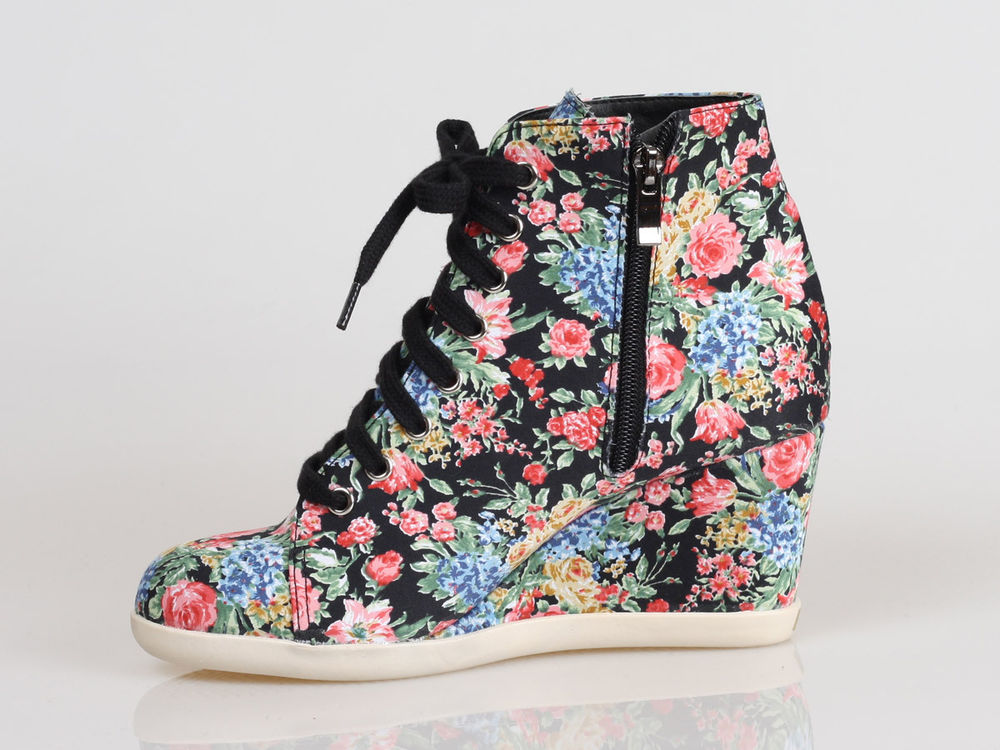 New Womens Ladies Floral Print Inside Zip Wedge High Heel Sneakers Shoes 2Colors | eBay