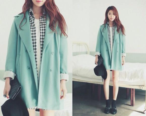 mint ulzzang checkered coat