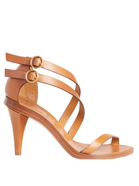 Chloe sandals leather sandals leather tan light shoes