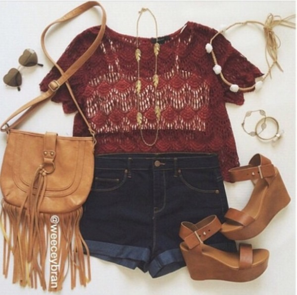 bag brown shorts high waisted jeans