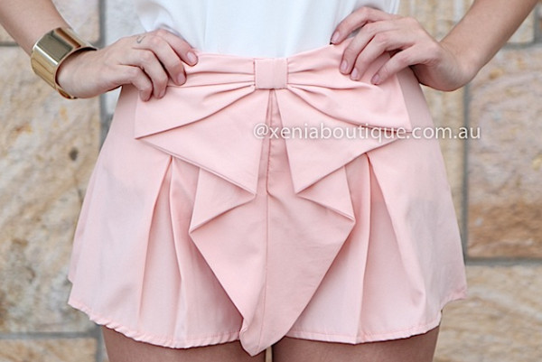 shorts light pink pink bow bow shorts skorts skirt