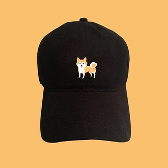 hat cap cute dog dodge kawaii grunge black cap kawaii grunge