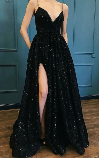 Dress Black Black Dress Prom Dress Prom Gown Black Long