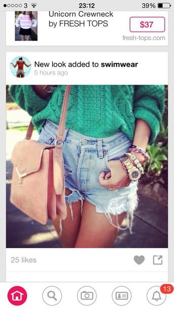 jeans green blouse denim shorts