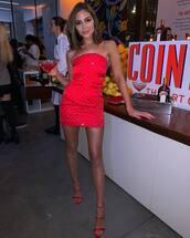 shoes,red dress,red,sandal heels,sandals,olivia culpo,strapless,mini dress