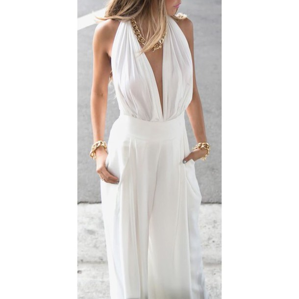 Pants White White Pants Bodysuit Halter Top Summer Outfits