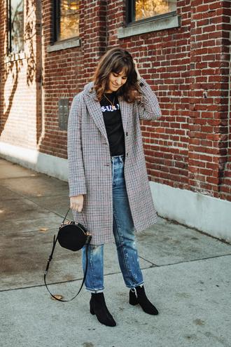 coat tumblr grey coat plaid plaid coat denim jeans blue jeans bag round bag boots black boots