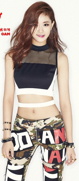 top black & white top crop tops joggers pants army green kpop