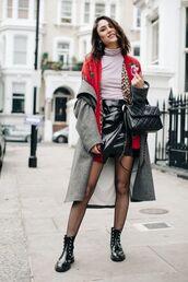skirt,red cardigan,tumblr,mini skirt,black skirt,leather skirt,black leather skirt,wrap skirt,top,pink top,turtleneck,bag,black bag,quilted,quilted bag,tights,net tights,fishnet tights,boots,black boots,flat boots,coat,grey coat,cardigan,earrings,jewels,jewelry