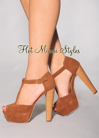 Mocha T-Strap Wooden High Heel Sandals
