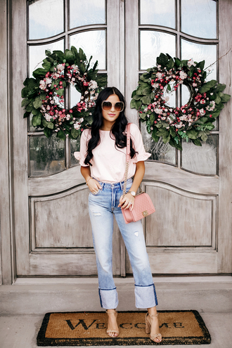 top tumblr pink top denim jeans blue jeans bag sandals sandal heels high heel sandals round sunglasses shoes sunglasses