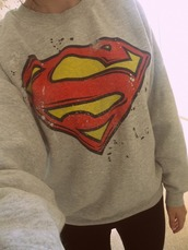 sweater,superman,sweatshirt,red,yellow,grey