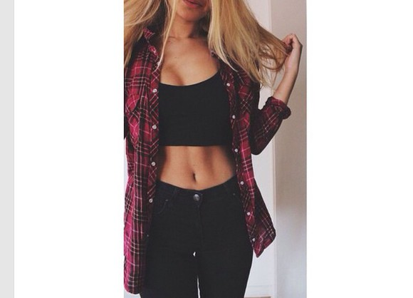 black jeans black crop top plaid button down shirt