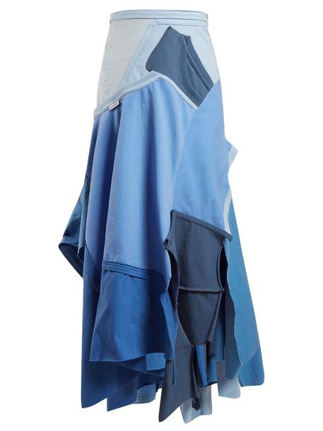 LOEWE Patchwork asymmetrical-hem skirt in blue / multi