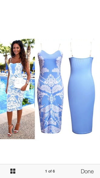 dress blue mid length white formal party