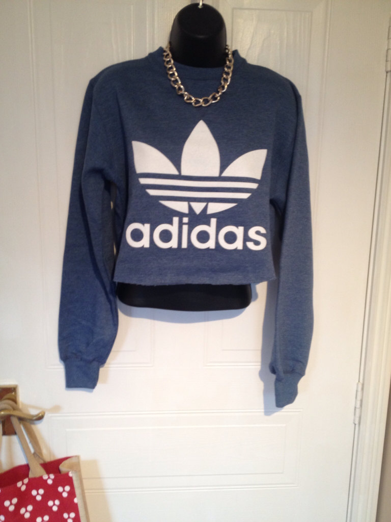 unisex customised adidas cropped sweatshirt t shirt sz medium grunge festival fashion