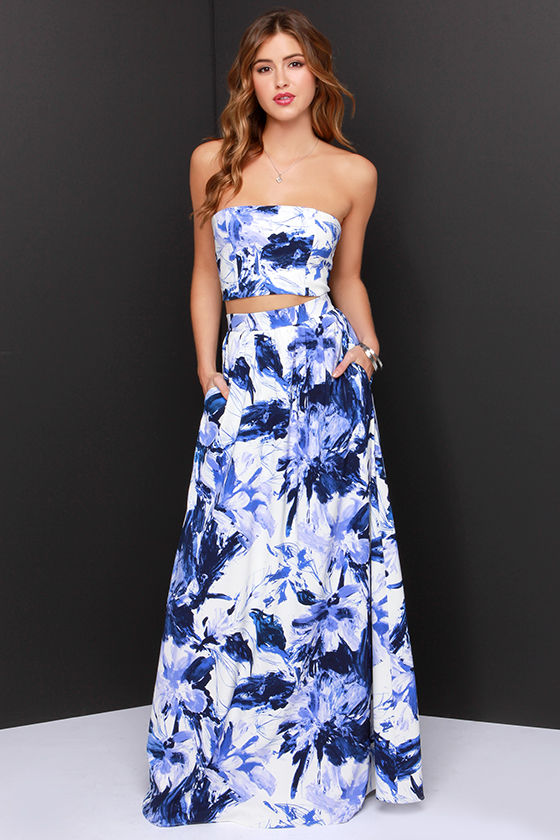 Placid trip blue and ivory print two