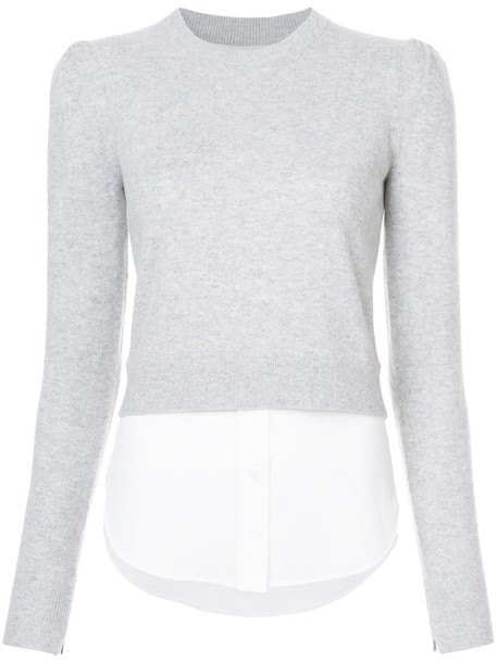 Veronica Beard - cropped long sleeved sweatshirt - women - Silk/Cashmere - L, Grey, Silk/Cashmere