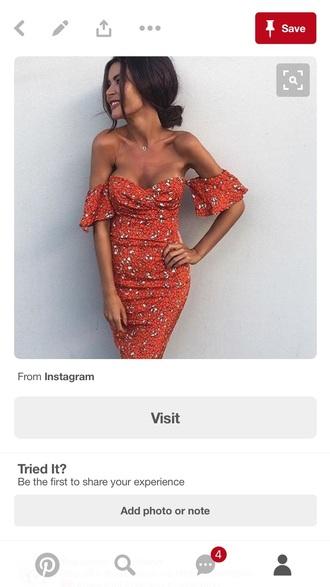 dress off the shoulder dress orange dress orange