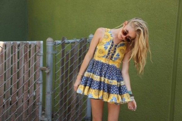 dress yellow daisy sunflower flower pattern tea dress blue sunflowers summer flowers printed floral festival boho boho dress floral dress yellow dress yellow and navy bohemian dress sunflower dress girly tumblr gorgeous
