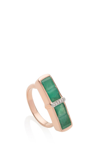 women ring green jewels