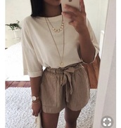 shorts,brown,shirt,white shirt