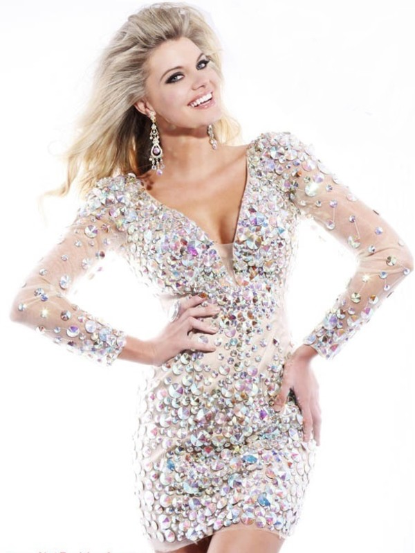 dress sequins sheer long sleeves beaded crystal rhinestones