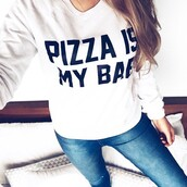 sweater,batoko,pizza,pizza is my bae,junk food,sweatshirt,jumper,hipster,cool,fashion,fashionista,celebrity,cara delevingne,bae,friends,girl,summer,cozy,style,chic,popular jacket