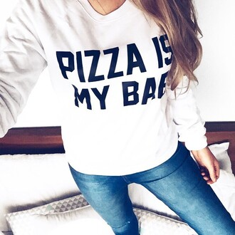 sweater batoko pizza pizza is my bae junk food sweatshirt jumper hipster cool fashion fashionista celebrity cara delevingne bae friends girl summer cozy style chic popular jacket