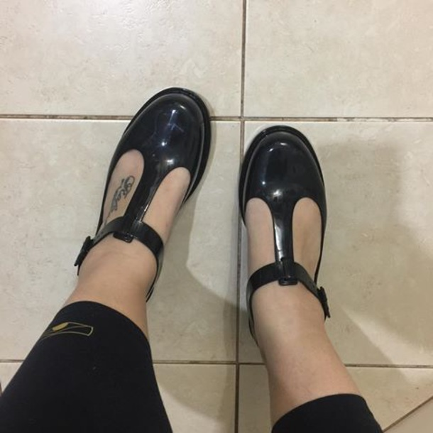 shoes black vintage flatform t strap t bar flats hush puppies melissa kazakova mini melissa school uniform 90s style 90s grunge 80s style tbar hush puppies