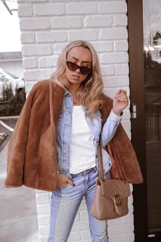 jessica luxe blogger shoes bag jacket sunglasses jeans faux fur jacket gucci bag denim jacket spring outfits