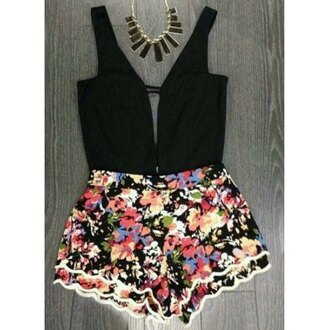 romper floral spring cute girly summer black rose wholesale-ap
