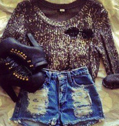 shorts,vintage,fall outfits,clothes,sweater,shoes