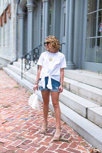 something delightful blogger top shorts sunglasses jewels shoes bag summer outfits tie-front top denim shorts wedges espadrilles handbag