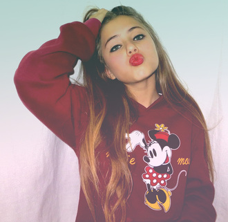 sweater minnie mouse burgundy red lipstick long hair teenagers cute lips