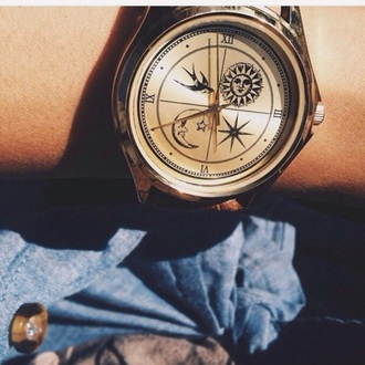 jewels watch clock birds sun moon bohoo