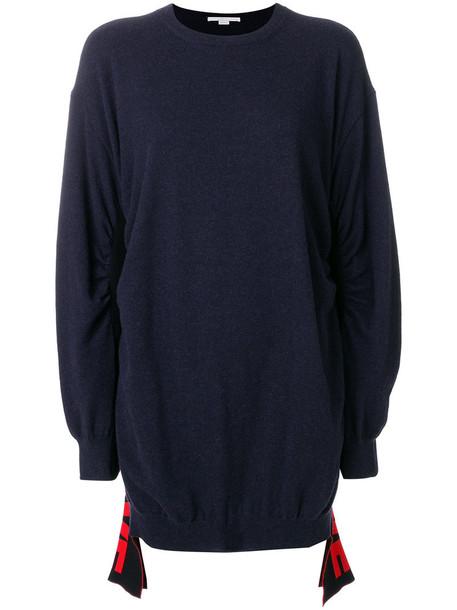 jumper women love blue wool sweater
