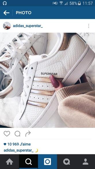 shoes adidas superstars rose gold